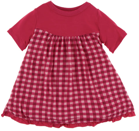KicKee Pants Flag Red Gingham Classic Short Sleeve Swing Dress