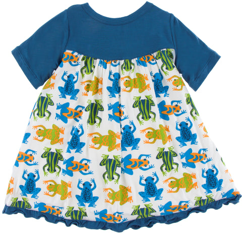 KicKee Pants Amazon Frogs Classic Short Sleeve Swing Dress - Basically Bows & Bowties