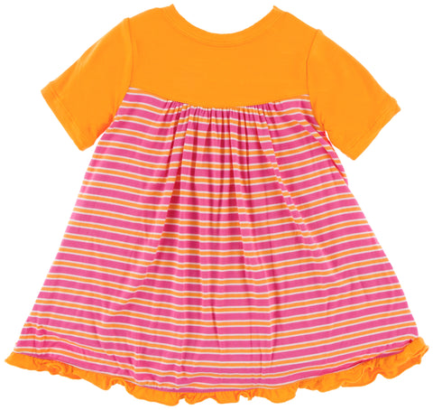 KicKee Pants Flamingo Brazil Stripe Classic Short Sleeve Swing Dress