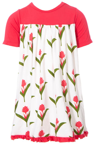 KicKee Pants Natural Red Ginger Flowers Classic S/S Swing Dress