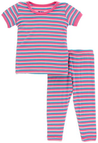 KicKee Pants Flamingo Anniversary Stripe Short Sleeve Pajama Set