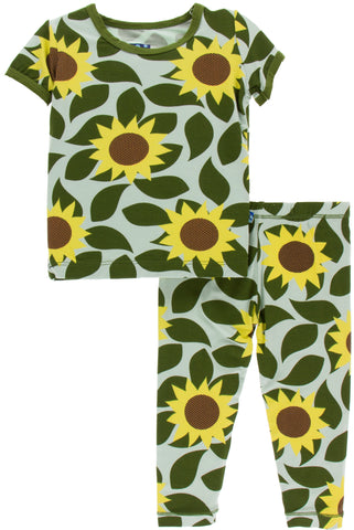 KicKee Pants Aloe Sunflower Short Sleeve Pajama Set with Pants