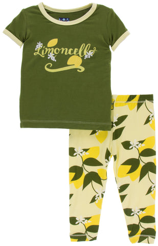 KicKee Pants Lime Blossom Lemon Tree Short Sleeve Pajama Set with Pants