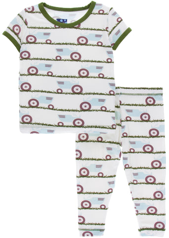 KicKee Pants Natural Tractor and Grass Short Sleeve Pajama Set with Pants