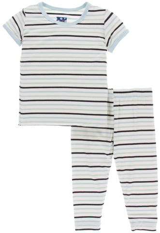 KicKee Pants Tuscan Afternoon Stripe Short Sleeve Pajama Set with Pants