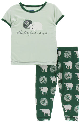 KicKee Pants Topiary Tuscan Sheep Short Sleeve Pajama Set with Pants