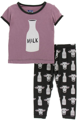 KicKee Pants Zebra Tuscan Cow Short Sleeve Pajama Set with Pants