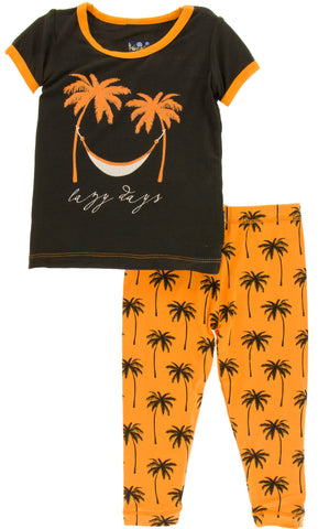 KicKee Pants Apricot Palm Tress S/S Pajama Set with Pants