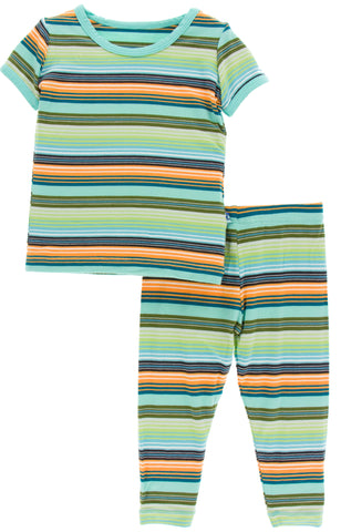 KicKee Pants Cancun Glass Stripe Short Sleeve Pajama Set with Pants