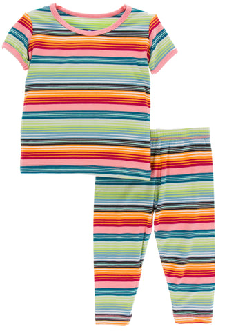 KicKee Pants Cancun Strawberry Stripe Short Sleeve Pajama Set with Pants