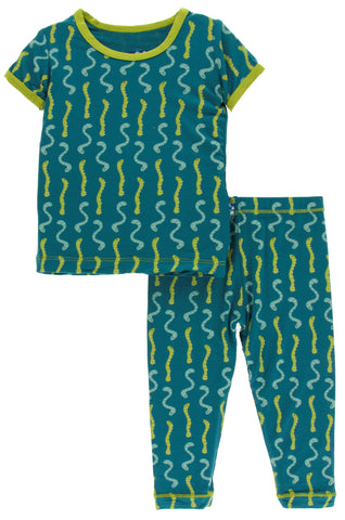 KicKee Pants Oasis Worms Short Sleeve Pajama Set with Pants