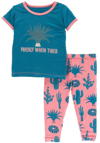 KicKee Pants Strawberry Cactus Short Sleeve Pajama Set with Pants