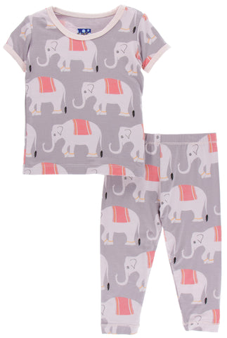 KicKee Pants Feather Indian Elephant S/S Pajama Set with Pants Basically Bows & Bowties