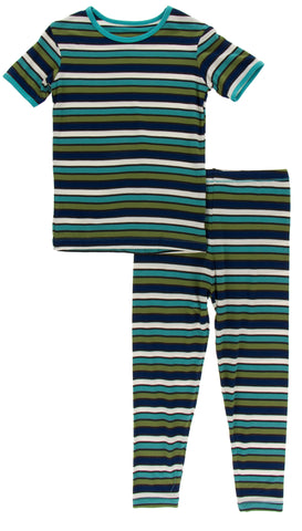 KicKee Pants Botany Grasshopper Stripe S/S Pajama Set with Pants