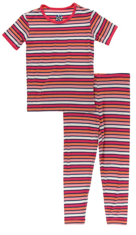 KicKee Pants Botany Red Ginger Stripe S/S Pajama Set with Pants