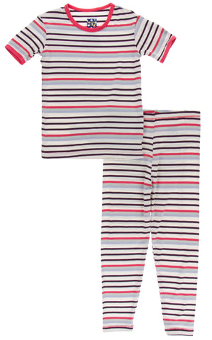 KicKee Pants Chemistry Stripe Short Sleeve Pajama Set with Pants