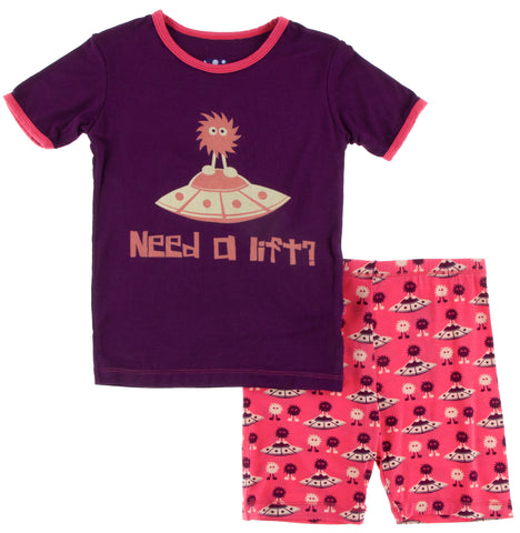 KicKee Pants Red Ginger Aliens with Flying Saucers Short Sleeve Pajama Set with Shorts