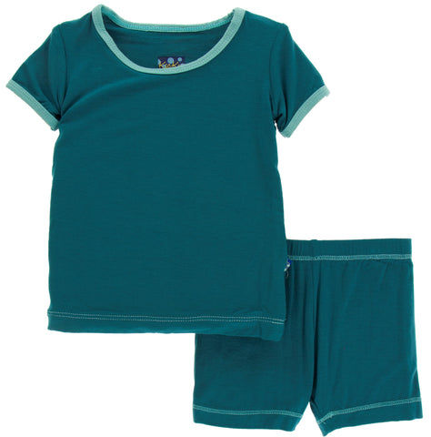 KicKee Pants Solid Oasis with Glacier S/S Pajama Set with Shorts