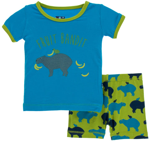 KicKee Pants Meadow Capybara S/S Pajama Set with Shorts