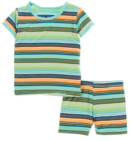 KicKee Pants Cancun Glass Stripe Short Sleeve Pajama Set with Shorts