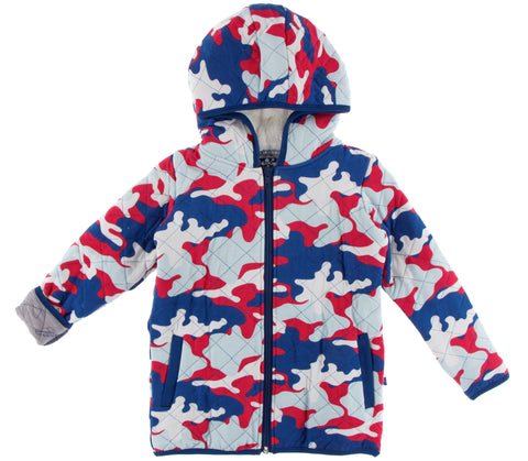 KicKee Pants Flag Red Military Quilted Jacket with Sherpa Lined Hood