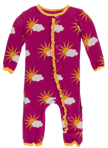 KicKee Pants Berry Partial Sun Classic Ruffle Coverall with Snaps Basically Bows & Bowties