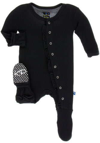 KicKee Pants Solid Midnight Classic Ruffle Footie with Snaps