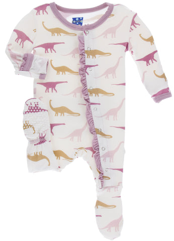 KicKee Pants Natural Sauropods Classic Ruffle Footie with Snaps Basically Bows & Bowties