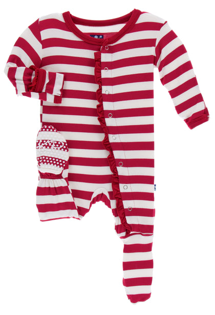 KicKee Pants Candy Cane Stripe 2019 Classic Ruffle Footie with Snaps Basically Bows & Bowties