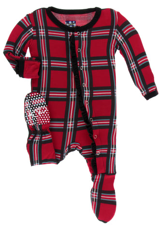 KicKee Pants Christmas Plaid 2019 Classic Ruffle Footie with Snaps Basically Bows & Bowties