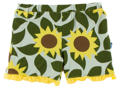 KicKee Pants Aloe Sunflower Ruffle Shorts