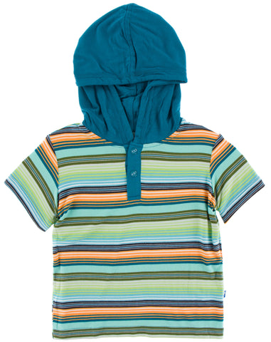 KicKee Pants Cancun Glass Stripe Short Sleeve Hoodie Tee