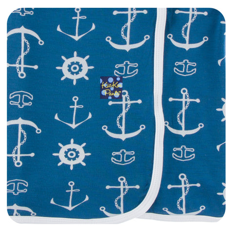 KicKee Pants Twilight Anchor Print Swaddling Blanket