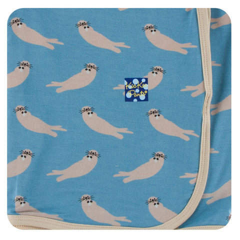 KicKee Pants Blue Moon Sea Otters Swaddling Blanket