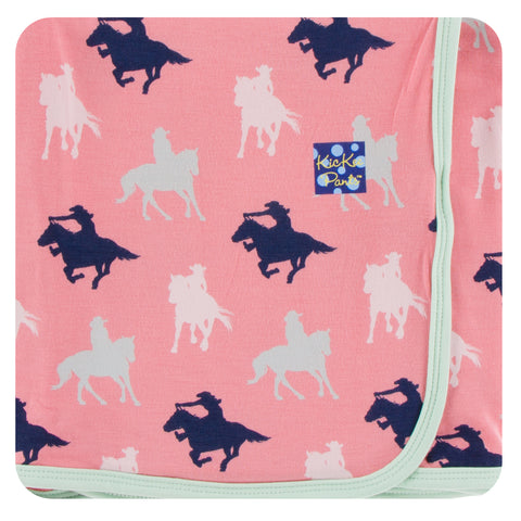 KicKee Pants Strawberry Cowgirl Print Swaddling Blanket