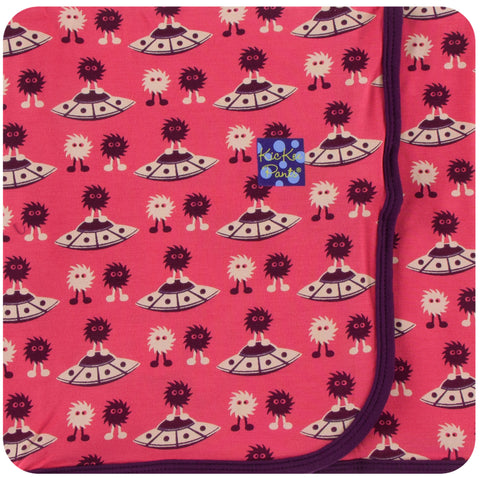 KicKee Pants Red Ginger Aliens with Flying Saucers Swaddling Blanket