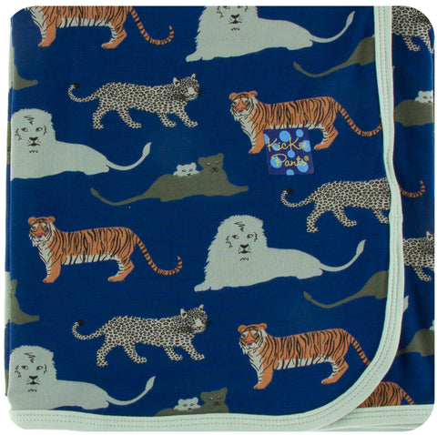 KicKee Pants Flag Blue Big Cats Swaddling Blanket
