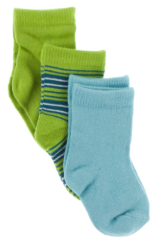 KicKee Pants Sock Set-Glacier/Cancun Stripe/Meadow