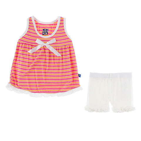 KicKee Pants Flamingo Brazil Stripe Tank with Shorts Outfit Set-PRESALE - Basically Bows & Bowties