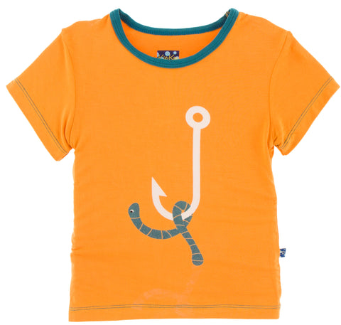KicKee Pants Apricot Hook with Worm Short Sleeve Easy Fit Piece Print Tee