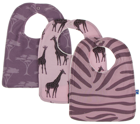 KicKee Pants Bib Set-Sweet Pea Giraffe/Fig Acacia/Elderberry Zebra Print - Basically Bows & Bowties