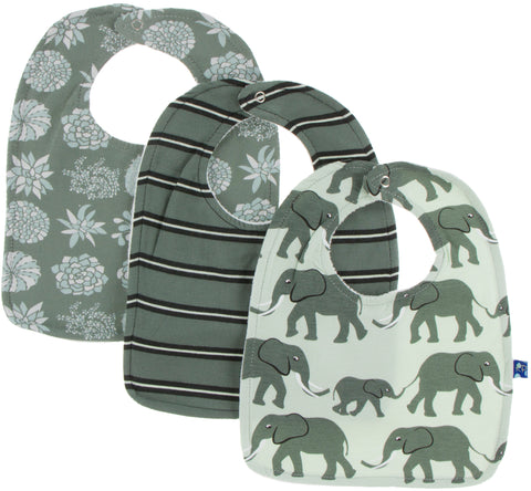 KicKee Pants Bib Set-Succulent Plants/Succulent Kenya Stripe/Aloe Elephants - Basically Bows & Bowties