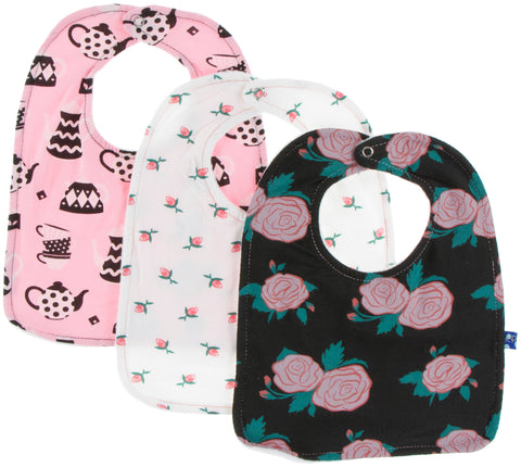 KicKee Pants London Bib Set-Tea Time, Natural Rose Bud & English Rose Garden