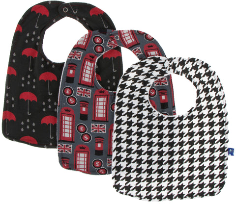 KicKee Pants London Bib Set-Umbrellas and Rain Clouds, Life About Town & Zebra Houndstooth