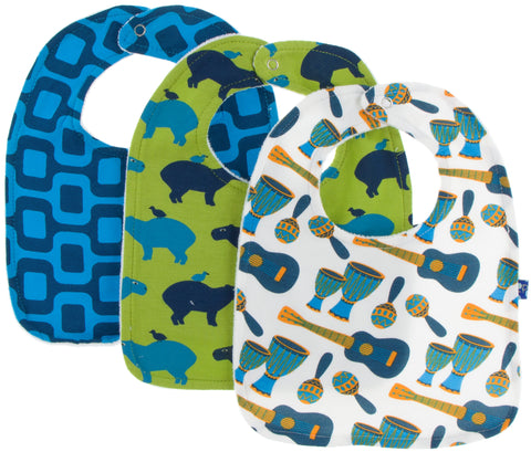 KicKee Pants 3pc Bib Set (Samba, Impanema, Meadow Capybara) - Basically Bows & Bowties