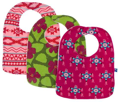 KicKee Pants Cancun Bib Set-Strawberry Mayan Pattern/Pesto Hibiscus/'Rhododendron Pinata