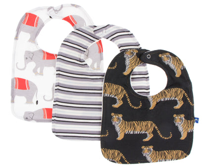 KicKee Pants Natural Indian Elephant India Pure Stripe Zebra Tiger Bib Set