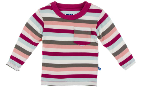 KicKee Pants Geology Stripe Long Sleeve Easy Fit Crew Neck Tee with Pocket Basically Bows & Bowties