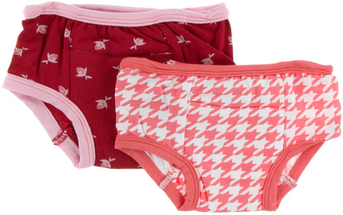 KicKee Pants Candy Apple Rose Bud & English Rose Houndstooth Training Pants Set