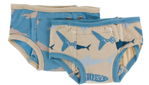 KicKee Pants Blue Moon Sea Otter & Burlap Sharks Training Pants Set Basically Bows & Bowties